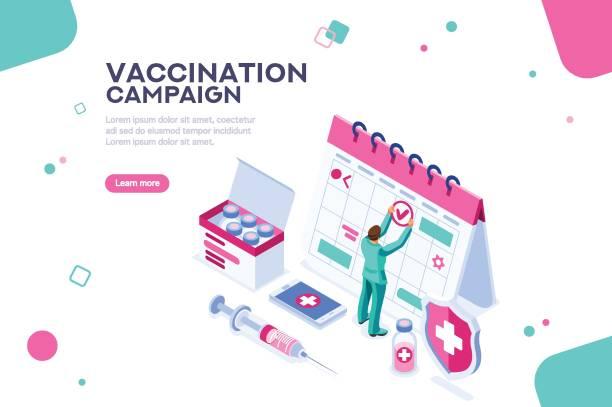 illustrations, cliparts, dessins animés et icônes de journée des affiches de campagne de vaccination - vaccin enfant