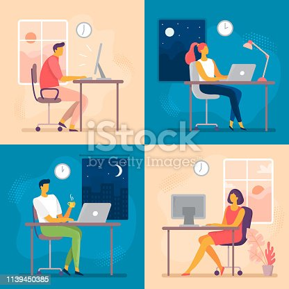 istock Day or night work. Working late, overtime office works and computer worker nights. Lark and owl workflow flat vector illustration 1139450385