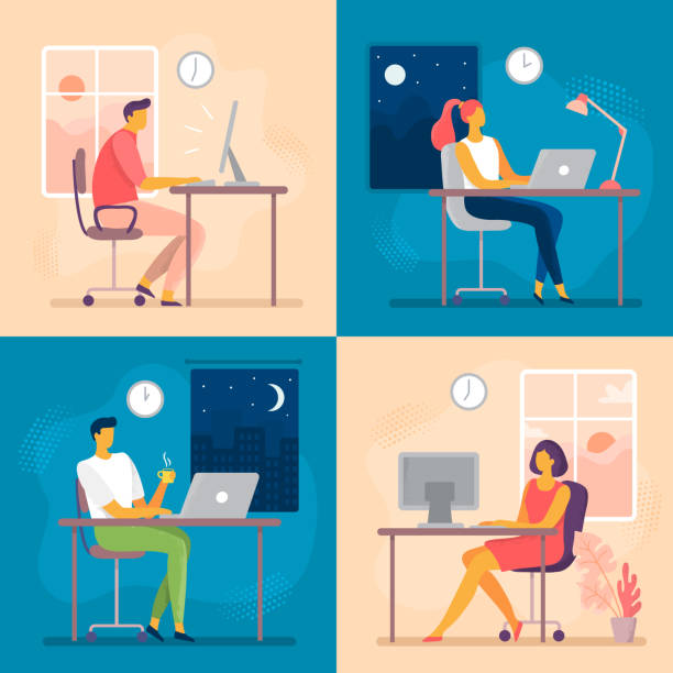 Day or night work. Working late, overtime office works and computer worker nights. Lark and owl workflow flat vector illustration Day or night work. Working late, overtime office works and computer worker nights. Lark and owl workflow, professional businesswoman daily routine or businessman deadline flat vector illustration overworked stock illustrations