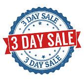 3 day sale label or sticker on white background, vector illustration