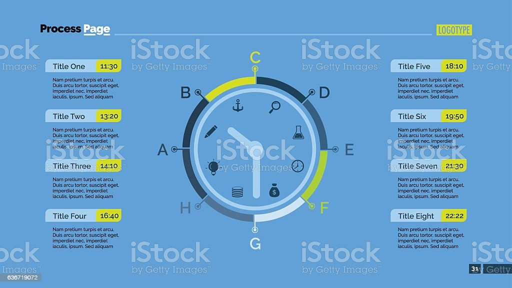 day schedule and clock slide template stock vector art more images