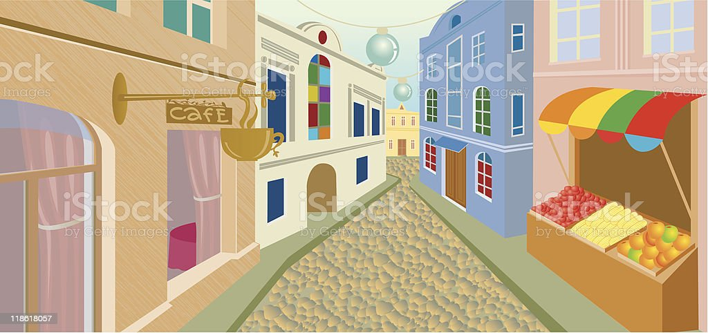 Day street in an old city royalty-free stock vector art