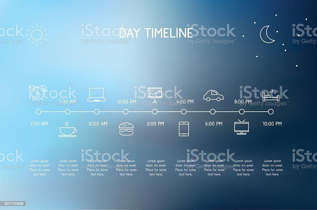 Day Timeline vector art illustration