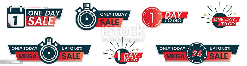 1 day to go countdown. one day sale. Only today sales in sticker label shape for promotion in social media.