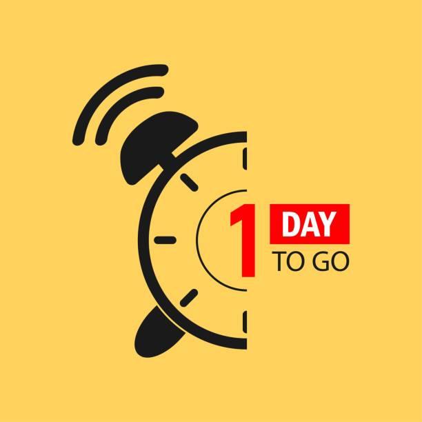 illustrazioni stock, clip art, cartoni animati e icone di tendenza di 1 day to go last countdown icon. one day go sale price offer promo deal timer, 1 day only. - mancino
