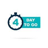 4 day to go sign with shadow. Vector