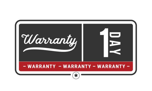 1 day warranty icon vintage vector art illustration