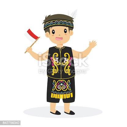 Ilustración de Dayak Muchacho Con Vector De Dibujos Animados De ...
