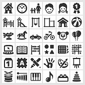 Daycare black and white royalty free vector interface icon set