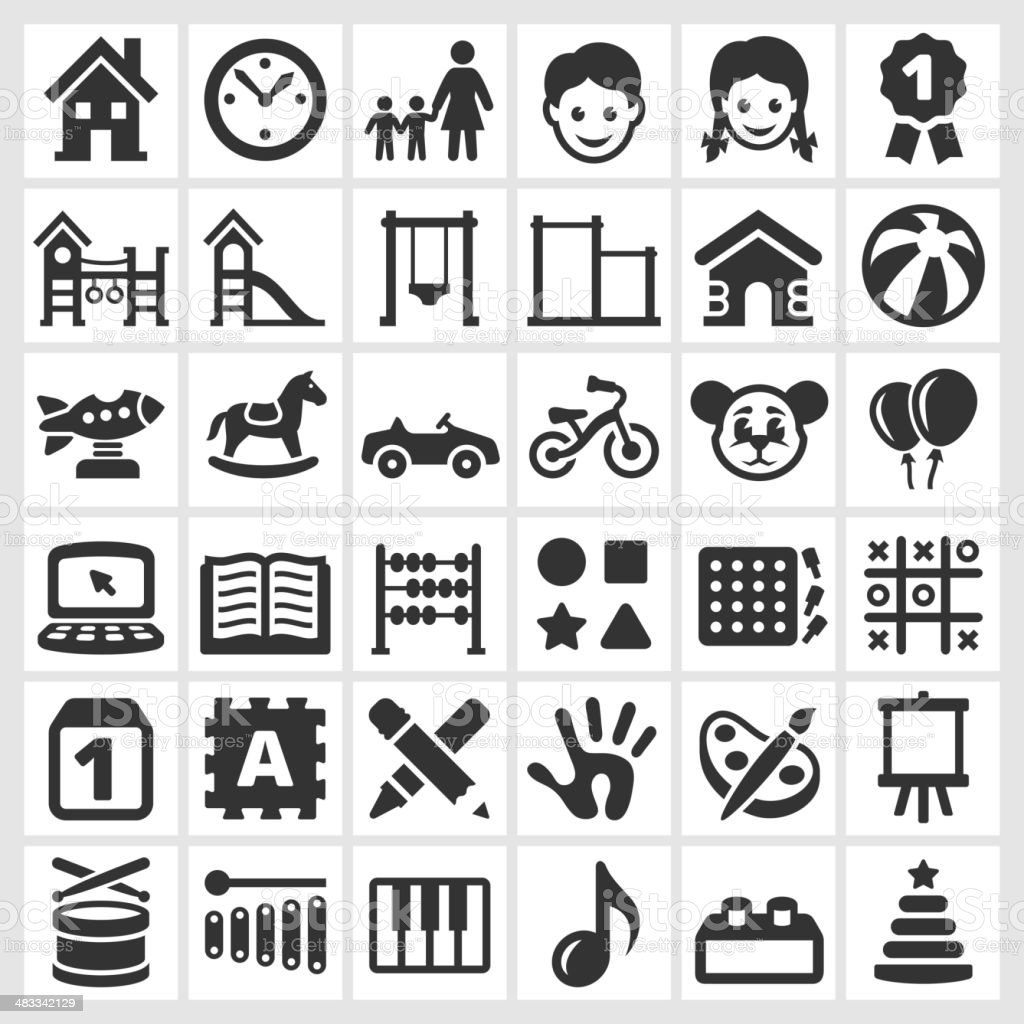 Daycare black and white royalty free vector interface icon set vector art illustration