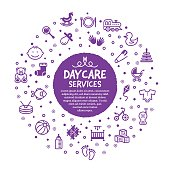 Vector line illustration of child care services.