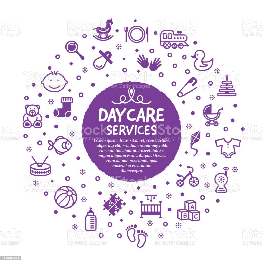 Daycare Services Poster vector art illustration
