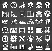 This royalty free vector illustration features a set of  36 vector icons in white color on a dark chalkboard. Each 100% vector design element can be used independently or as part of this royalty free graphic set. The blackboard has a slight texture.