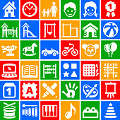 This royalty free vector illustration features a set of  36 vector icons in white color on flat color buttons. Each 100% vector design element can be used independently or as part of this royalty free graphic set. The buttons are square and are in red, blue, yellow and green colors.