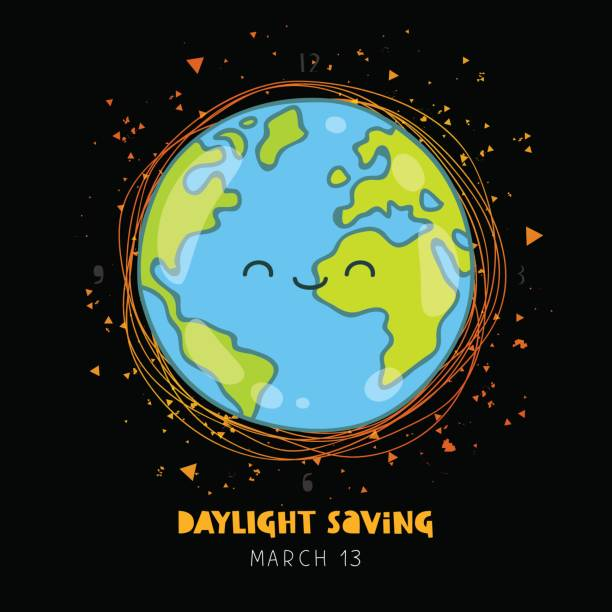 daylight saving. ecology concept - daylight savings time stock illustrations, clip art, cartoons, & icons