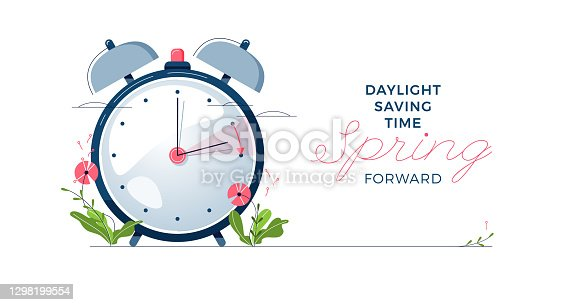 istock Daylight Saving Time banner. The clocks moves forward one hour. Spring clock changes concept. Modern flat design, cartoon vector illustration 1298199554