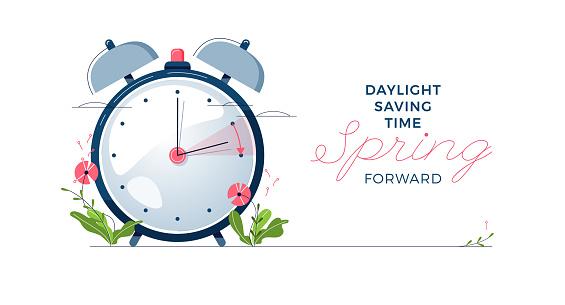Daylight Saving Time banner. The clocks moves forward one hour. Spring clock changes concept. Modern flat design, cartoon vector illustration