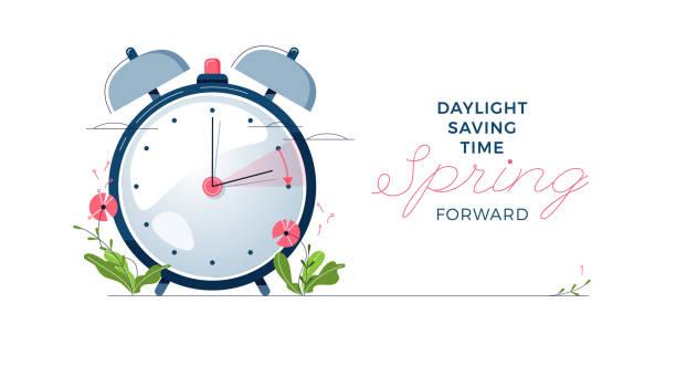Daylight Saving Time banner. The clocks moves forward one hour. Spring clock changes concept. Modern flat design, cartoon vector illustration vector art illustration