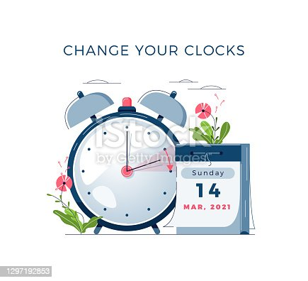 istock Daylight Saving Time begins concept. The clocks moves forward one hour. DST begins in USA. Flat design vector illustration 1297192853