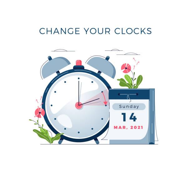 Daylight Saving Time begins concept. The clocks moves forward one hour. DST begins in USA. Flat design vector illustration vector art illustration