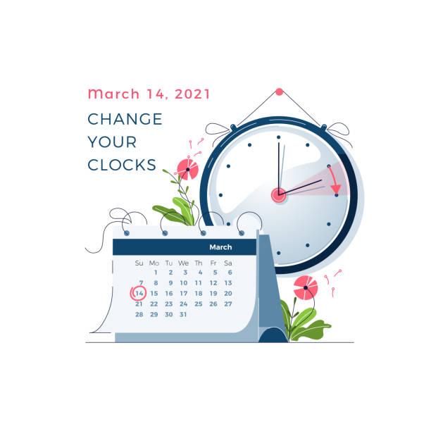 Daylight Saving Time begins concept. The clocks moves forward one hour. DST begins in USA, spring clock changes . Flat design vector illustration vector art illustration