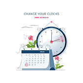 Daylight Saving Time begins concept. The clocks moves forward one hour. Calendar with marked date. DST begins in Europe, spring clock changes for banner, web, emailing. Flat design vector illustration