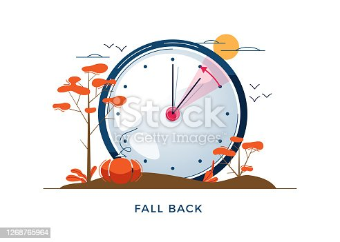 Daylight Saving Time concept. Autumn landscape with text Fall Back, the hand of the clocks turning to winter time. DST in Northern Hemisphere, USA time, vector illustration in modern flat style design