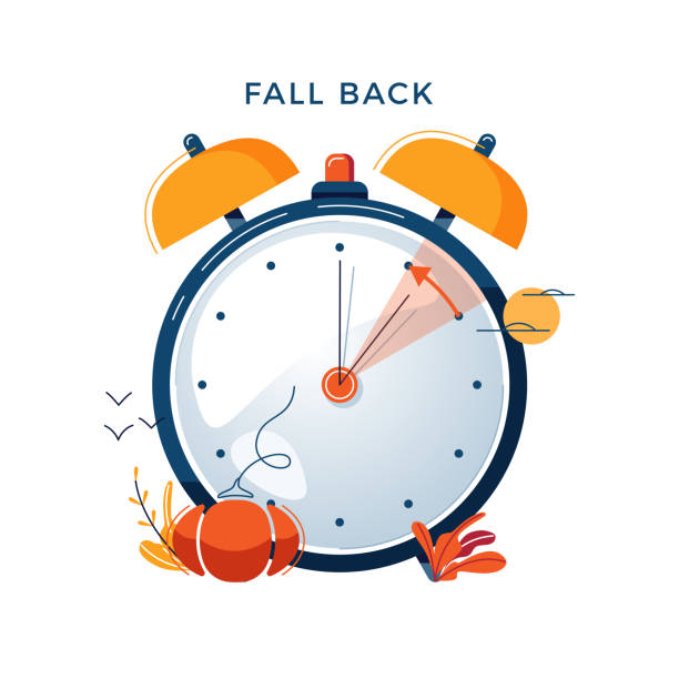 Daylight Saving Time concept. Autumn landscape with text Fall Back, the hand of the clocks turning to winter time. DST in Northern Hemisphere, USA time, vector illustration, modern flat style design Daylight Saving Time concept. Autumn landscape with text Fall Back, the hand of the clocks turning to winter time. DST in Northern Hemisphere, USA time, vector illustration in modern flat style design daylight savings stock illustrations