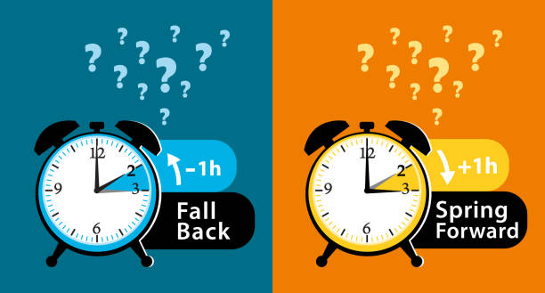 daylight saving time date question. colorful fall back and spring forward alarm clocks set. colorful vector illustration. - daylight savings time stock illustrations, clip art, cartoons, & icons