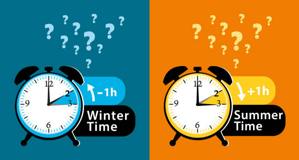 daylight saving time date question. colorful winter time and summer time alarm clocks set. colorful vector illustration. - spring forward stock illustrations, clip art, cartoons, & icons