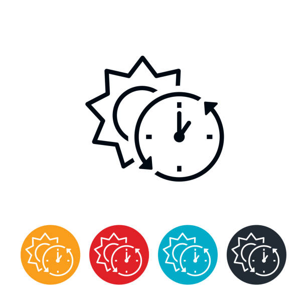 Daylight Saving Time End Icon An icon of a clock and sun. The icon represents daylight saving time ending and represents daylight standard time. During this time clocks fall back one hour. daylight savings stock illustrations