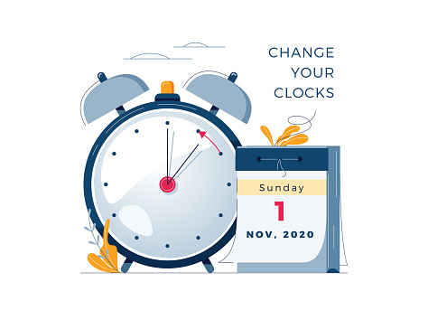 Daylight Saving Time ends concept. The hand of the clocks turning to winter time. Calendar with marked date, text Change your clocks. DST ends in usa, vector illustration in modern flat style design
