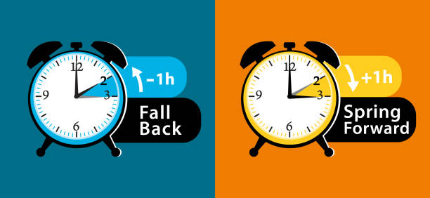 daylight saving time. fall back and spring forward alarm clocks set. colorful vector illustration. - daylight savings time stock illustrations, clip art, cartoons, & icons