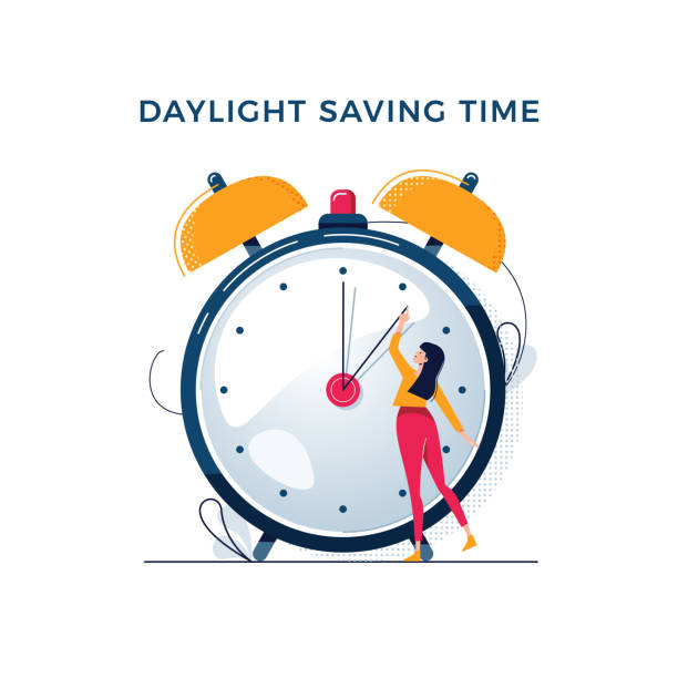 Daylight saving time illustration. Young woman turns the hand of the clock. Turning to winter or summer time, alarm clock vector design. Character in modern flat style for your tiny people concept Daylight saving time illustration. Young woman turns the hand of the clock. Turning to winter or summer time, alarm clock vector design. Character in modern flat art style for your tiny people concept daylight savings stock illustrations