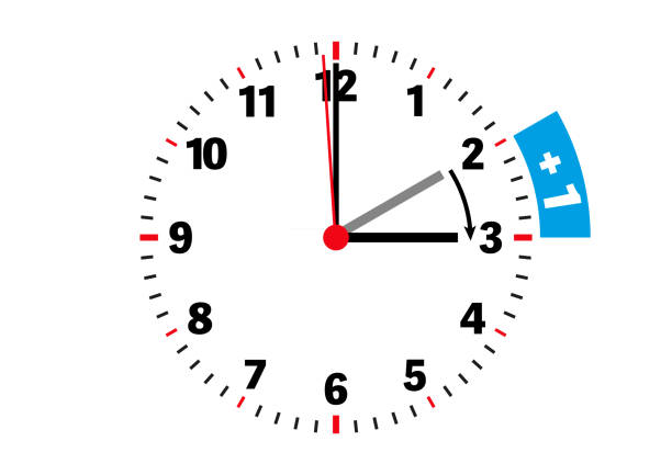 daylight saving time one-hour shift concept vector illustration on white background - daylight savings time stock illustrations, clip art, cartoons, & icons