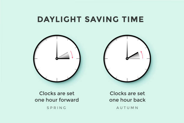 daylight saving time. set of clock time for spring forward, authum back, summer time - spring forward stock illustrations, clip art, cartoons, & icons