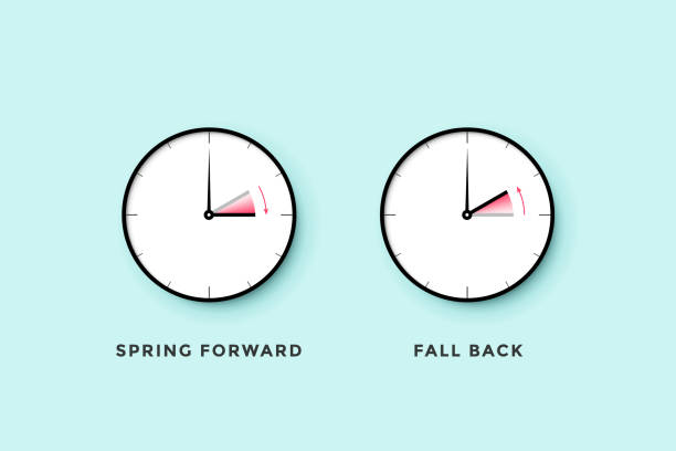 Daylight saving time. Set of clock time for Spring forward, Autumn back, Summer time Daylight saving time. Set of clock time for Spring forward, Autumn back, Summer time. Banner, poster for daylight saving time. Vector Illustration daylight savings stock illustrations
