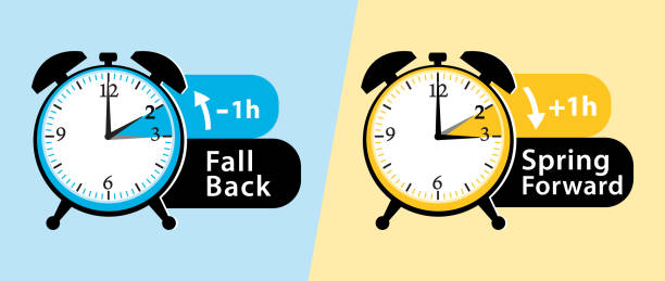 daylight saving time. spring forward and fall back alarm clocks set. vector illustration. - daylight savings time stock illustrations, clip art, cartoons, & icons