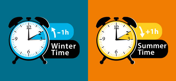 daylight saving time. summer time and winter time alarm clocks set. colorful vector illustration. - daylight savings time stock illustrations, clip art, cartoons, & icons