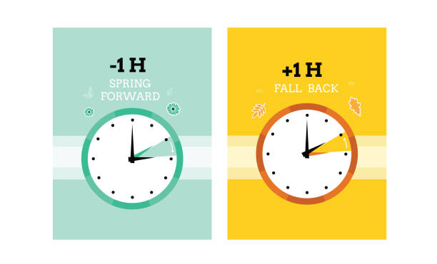 Daylight saving time Daylight saving time. Clock. time. Fall back and spring forward. Cute vector cards. back stock illustrations