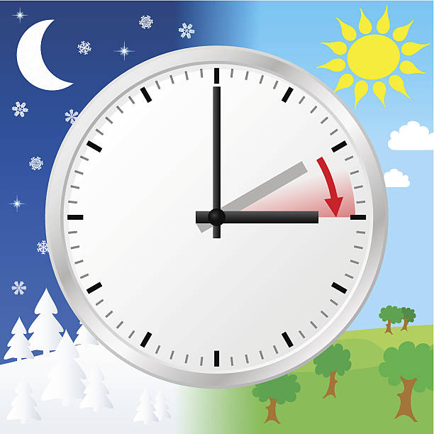daylight savings time graphic with day and night landscapes - daylight savings time stock illustrations, clip art, cartoons, & icons