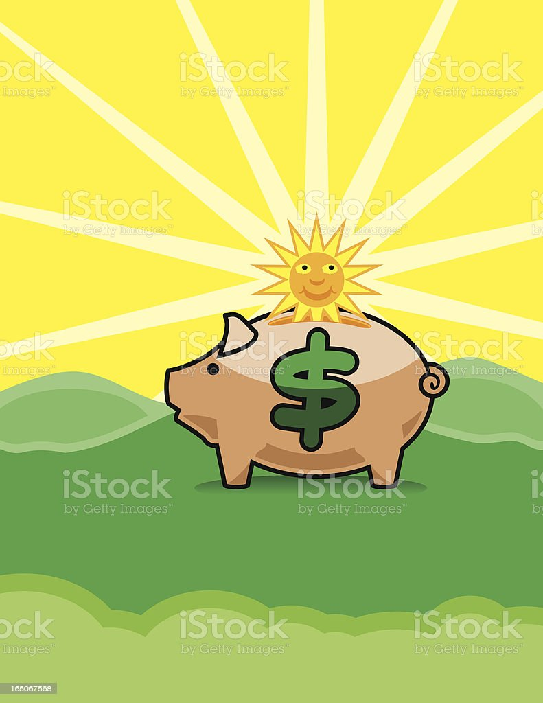 Daylight Savings Time Vector: Sun Dropping into Piggy Bank This image shows a happy sun beginning to drop through the slot of a piggy bank. Overall image size is proportional to 8.5 x ll inches. Cheerful stock vector