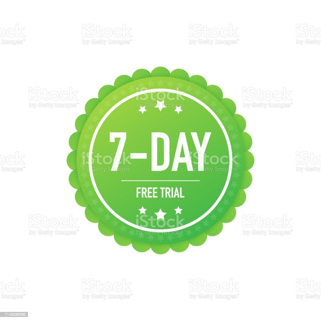 7 Days Free Trial Label Badge Sticker Software Promotions For Free
