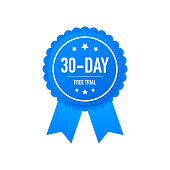 30 days free trial label, badge, sticker. Software promotions for free downloads. It can be used for application. Vector stock illustration.