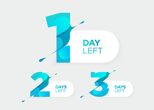 1, 2, 3 Days Left. Vector Futuristic Numbers. Sale Countdown Timer Bar. Date Badge for Promotion, Final Sale, Landing Page.