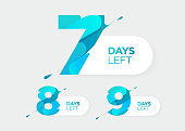 7, 8, 9 Days Left. Vector Futuristic Numbers. Sale Countdown Timer Bar. Date Badge for Promotion, Final Sale, Landing Page.