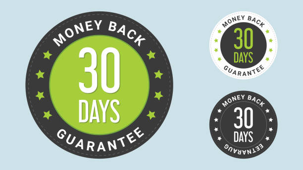 30 days money back guarantee stamp vector illustration. vector certificate icon. vector combination for certificate in flat style. - płacić stock illustrations