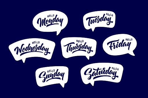 Days of the week in speech bubbles.