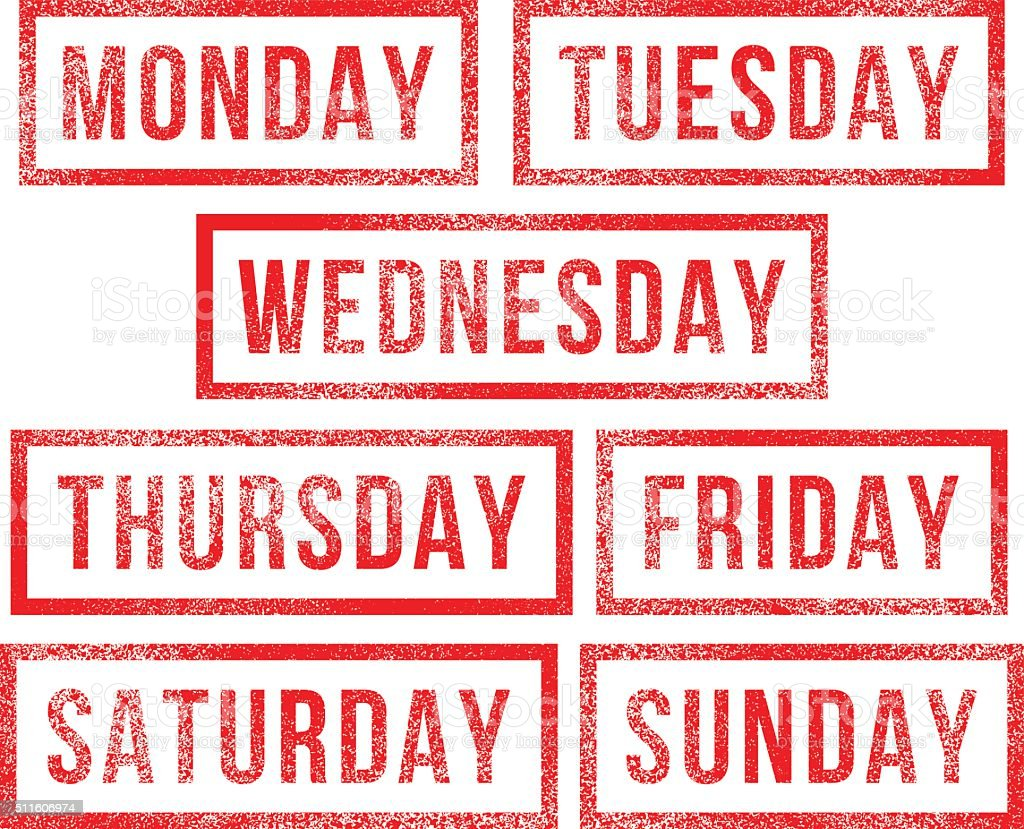 Days of the week rubber stamps vector art illustration