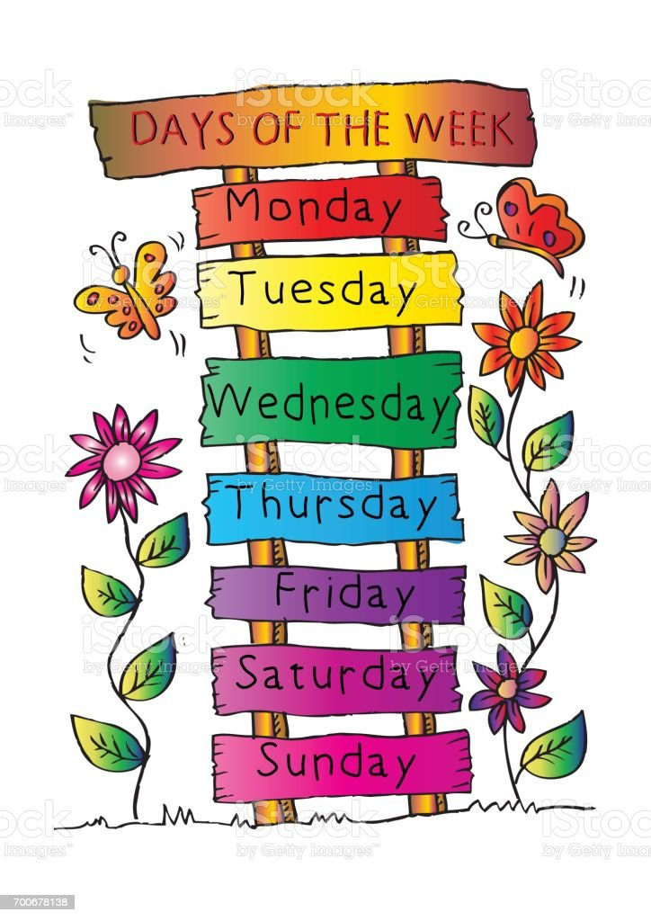 Days Of The Week With Name Plate Stock Illustration ... (724 x 1024 Pixel)